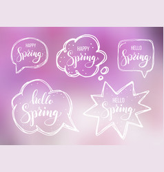 Hello spring lettering on speech bubbles vector