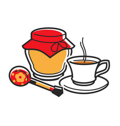 Honey and cup of tea vector