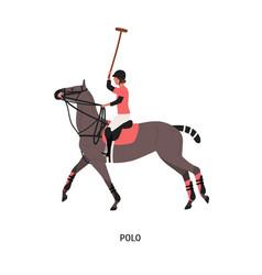 horse polo flat game vector image