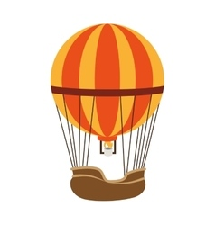 Hot balloon basket fire icon vector