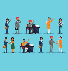 Icons set with ethnic businesspeople vector