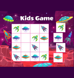 kids maze game with spaceships sudoku vector image