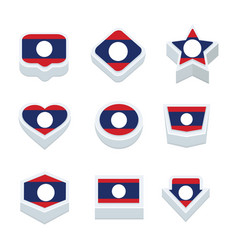 Laos flags icons and button set nine styles vector