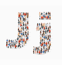 large group people in letter j form vector image