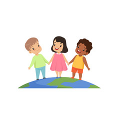 little kids of different nationalities standing vector image
