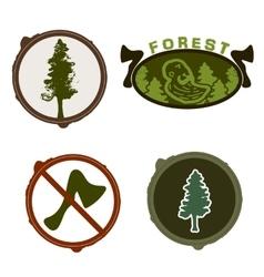 Lumberjack woodman logo green vector image