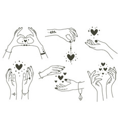 magic hands with hearts boho linear style vector image