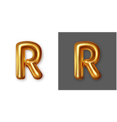 Metallic gold alphabet letter symbol - r vector