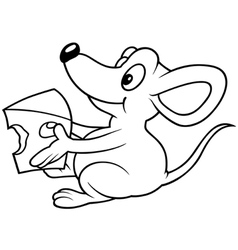 Mouse Holding Cheese vector image