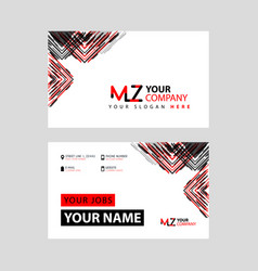 Mz logo letter with box decoration on edge vector