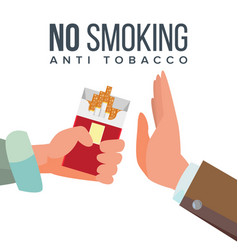 No smoking concept anti tobacco hand vector