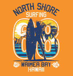 north shore hawaii surfing girl vector image