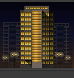 office high-rise building at night on the vector image