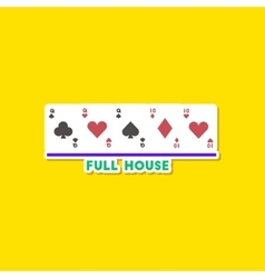 paper sticker on stylish background poker full vector image