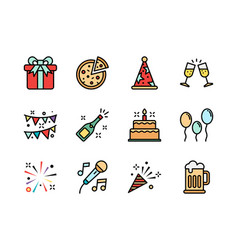 party icon set colorline style symbols for vector image