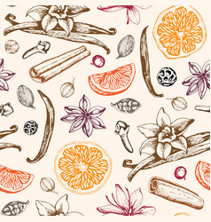 Pattern with ingredients ans spices for mulled vector