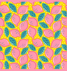 Pattern with pink lemons vector
