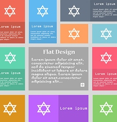Pentagram icon sign Set of multicolored buttons vector