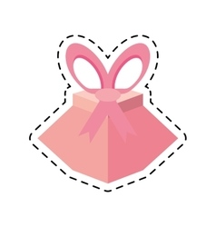 Pink gift box festivity party ribbon line dotted vector