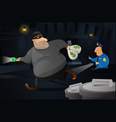 Policeman catching a robber in a dark alley vector