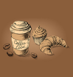 poster with a coffee cup and sweets vector image