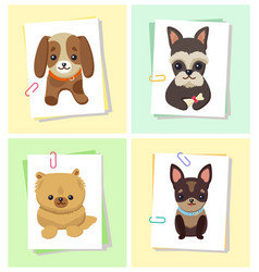 puppies and dogs poster set vector image