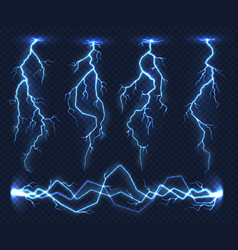 Realistic lightnings electricity thunder light vector