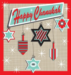 retro chanukah card vector image