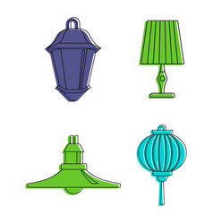room lamp icon set color outline style vector image