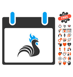 rooster calendar day icon with lovely bonus vector image