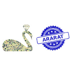 Rubber ararat stamp and military camouflage vector