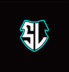 s l initial logo design with a shield shape vector image