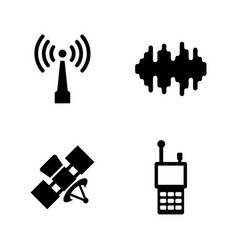 satellite connection simple related icons vector image
