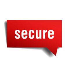 Secure red 3d speech bubble vector