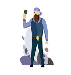 senior man biker talking cell smart phone flat vector image