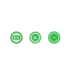 set bio 100 percent natural emblem design vector image