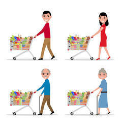 set people with a shopping cart with products vector image