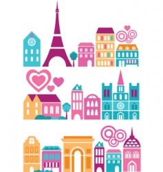 silhouettes of european cities paris vector image