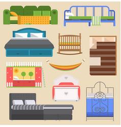 Sleeping bed furniture design bedroom with vector