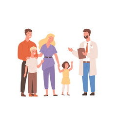 Smiling cartoon family visit therapist isolated vector