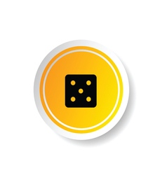Sticker in yellow color with dice cube vector