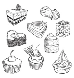 Sweet cakes set vector image