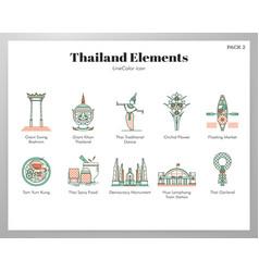 thailand elements linecolor pack vector image