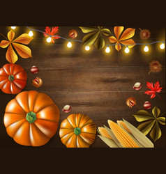 Thanksgiving day colored frame vector