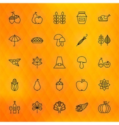 Thanksgiving Day Thin Line Icons Set vector