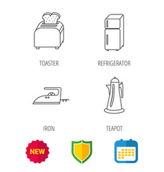 Toaster refrigerator and iron icons vector