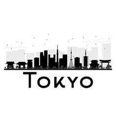 Tokyo City skyline black and white silhouette vector