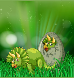 triceratops hatching egg in the forest vector image