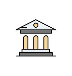 University bank campus court flat color icon icon vector