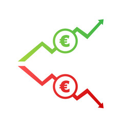Up and down arrows with euro sign in flat icon vector